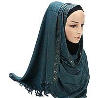 BaronHong Women's Sequined Scarf fashion Solid Long Shawl Wrap Muslim Hijab