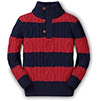 Hope & Henry Boys Mock Neck Cable Sweater Button Placket Made Organic Cotton