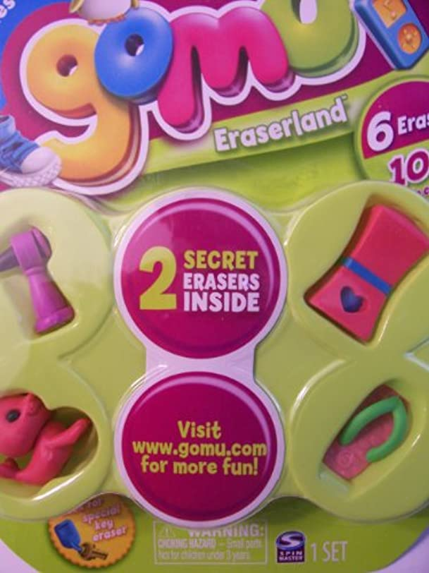 Gomu Series 1 Set of 6 Erasers (Microphone, Lipstick, Sandle, Seal) + 2 Mystery