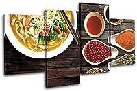 太字ブロックデザイン–ChineseスープShabby Herbs Foodキッチンマルチキャンバスアートプリントボックスフレーム写真壁Hanging–Hand Made In The UK–Framed and ready to hang (C) 160x90cm 13-8890(00B)-MP04-LO-C