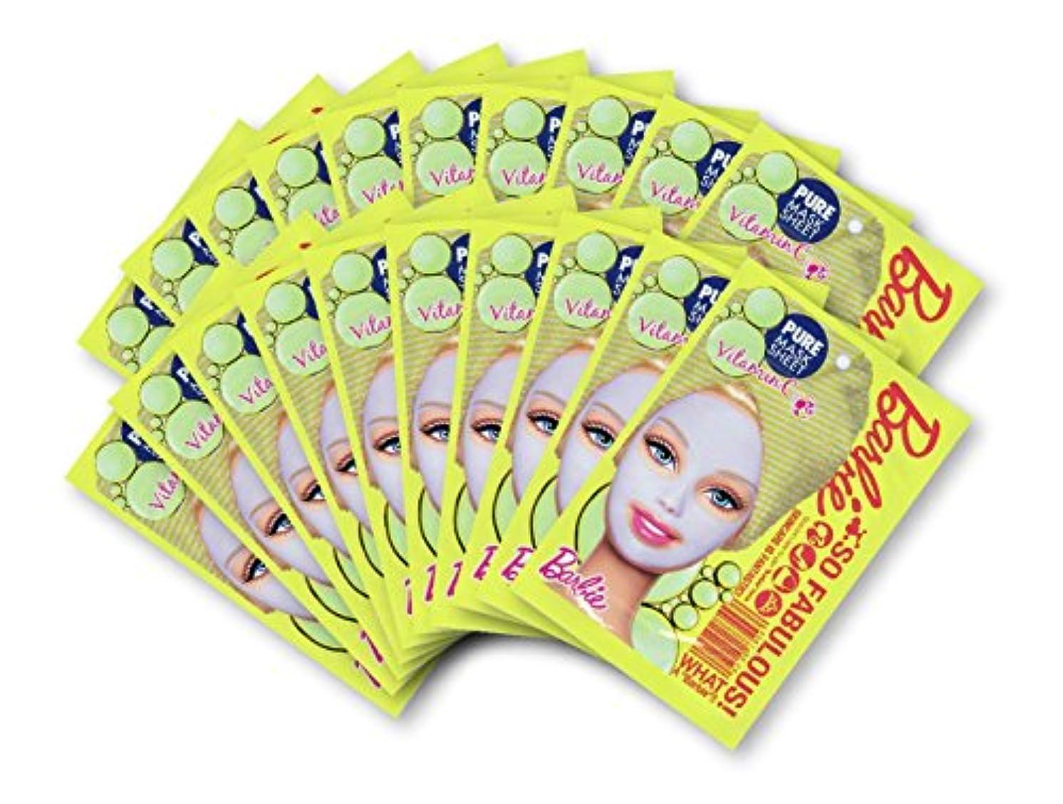 抱擁ソファーハイキングに行くバービー (Barbie) フェイスマスク ピュアマスクシートN (ビタミンC) 25ml×20枚入り [透明感] 顔 シートマスク フェイスパック