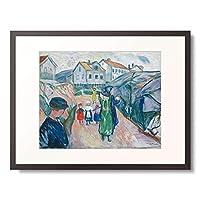 エドヴァルド・ムンク Edvard Munch 「Village street in Kragero. (Gate i Kragero) 1913.」 額装アート作品