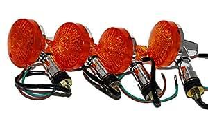 GS メッキ ウインカー 汎用 旧車向け 4個 セット (オレンジ)