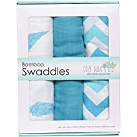 Bamboo Muslin Swaddles, 3 Pack, Softest Muslin Swaddle Blankets, Aqua, Swaddle Blanket by Cozy Babe by Cozy Babe