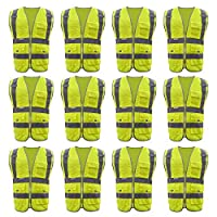 TOPTIE 12 PCS SECURITY 8 Pockets High Visibility Safety Vest Meet ANSI/ISEA Standards Wholesale - イエロー - XL