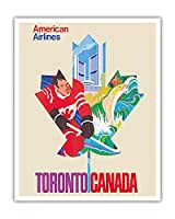 トロント、カナダ - アメリカン航空 - ビンテージな航空会社のポスター c.1968 - アートポスター - 41cm x 51cm