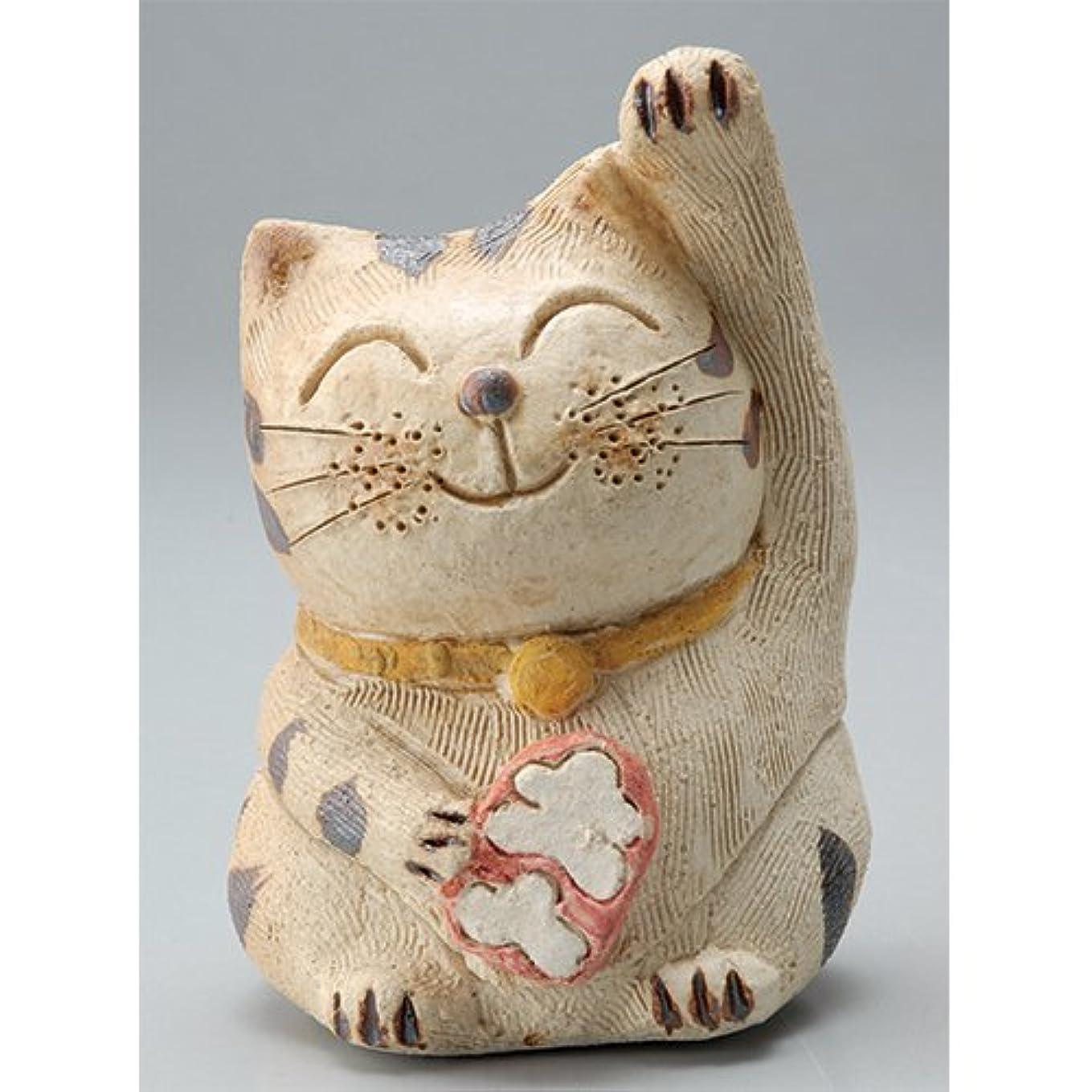 ゴミ箱曲げる遺棄された香炉 微笑み招き猫(人招き)香炉(中) [H14cm] HANDMADE プレゼント ギフト 和食器 かわいい インテリア