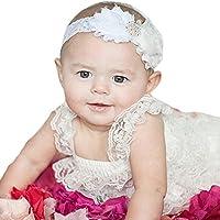 miugle新生児赤ちゃんレースヘッドバンドwithシックな花、ホワイト、14