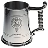 GREGORY Gregory Crest Tankard with Rope Handle in Polished Pewter 1 Pint Capacity