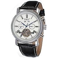 jkjywatch Jaragar自動時計カレンダー表示ホワイトダイヤルレザーストラップメンズ腕時計