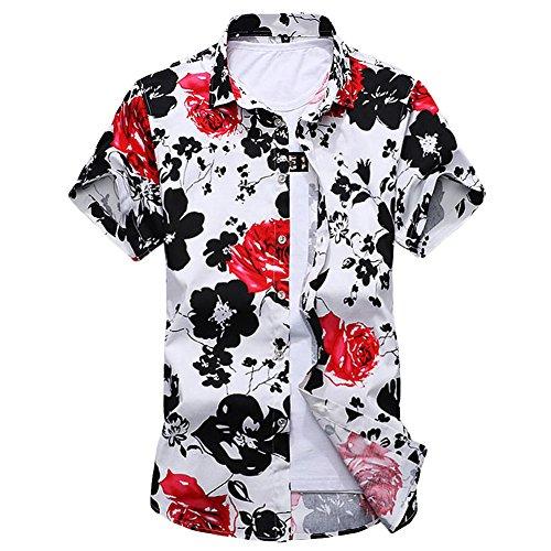 CEEN メンズ 春 夏 シャツ 花柄 半袖 フラワー おしゃれ アロハシャツ リゾート 気分 カジュアル さわやか 和柄 大きいサイズ