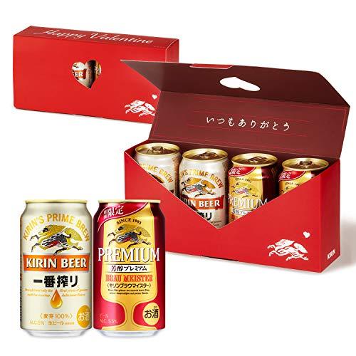 【Amazon.co.jp限定】 キリン バレンタインメッセージボックス 一番搾り・キリンブラウマイスター バレンタインギフト ビール [ 350ml×4本 ] [ギフトBox入り]