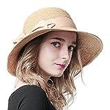 Sedancasesa 小顔効果抜群 つば広帽子 小顔効果 レディース 女性用 折り畳み ハット UVカット 紫外線対策 ちょう結び 麦わら帽子 (茶色)