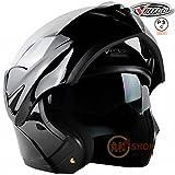 バイクヘルメット システムヘルメット フリップアップヘルメット フルフェイス ジェット PSC付き VT-808【01.単色・黒(艶有り)/L】