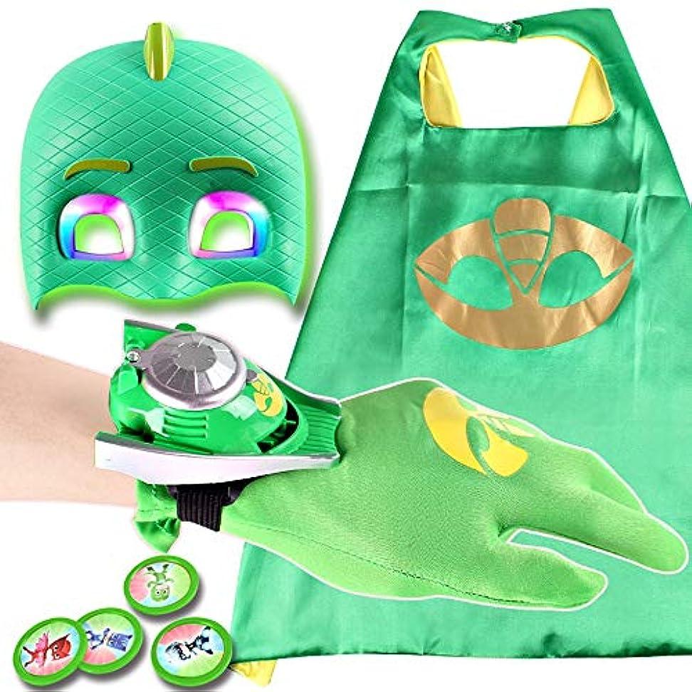 拍車知覚する定義する子供用ハロウィンコスチュームマスク-漫画のヒーローマスク、マントと手袋の子供のコスプレ小道具