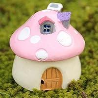 樱のホーム ミニチュア妖精の庭キノコの家 人形の家の像DIYの工芸 風景の装飾(ピンク)