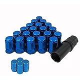 来慶(ライケイ)ホイール ロックナット 20個 エアバルブ 4個 セット M12 P1.25 4穴 5穴 (ブルー) 適合車種 日産 スバル スズキ 盗難防止 ドレスアップ チューニング 峠 (青, M12×P1.25)