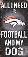"Denver Broncos Wood Sign – Football and Dog 6 "" x12 """