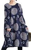[ゴールドジャパン] 大きいサイズ レディース ワンピース 裏起毛 長袖 花柄 ポケット 膝丈 Aライン フレア