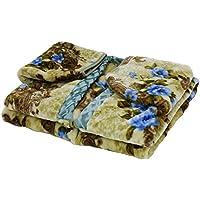 京都西川 かいまき毛布 夜着 アクリル 日本製 洗える 静電気抑制 花柄 ブルー シングル 2YGE2076