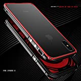 MQman 伝奇 新登場 iphoneX アルミバンパー ケース アイフォンXメタルフレーム アイフォンカバーストラップホール 金属合金カバー人気「表面強化ガラス付き 背面透明プレート付き」 (黒×赤)
