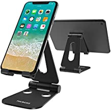 Tecboss Foldable Tablet Phone Stand, Nintendo Switch Stand Desk Holder for iPad Air Pro iPhone X 8 7 6 Plus Samsung Galaxy Tab Android Smartphones Tablets (3.5-13 Inch) E-Readers - Black