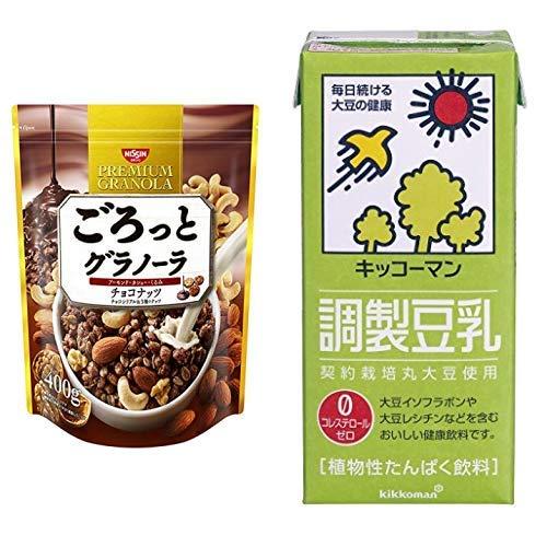 【セット買い】ごろっとグラノーラチョコナッツ400g 400gX6袋 + キッコーマン飲料 調製豆乳 1L×6本