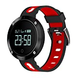 RUNACC スマートウォッチ 睡眠計 血圧計 スマートブレスレット 活動量計 着信知らせ 心拍計 座りがち注意 歩数計 カロリー 距離 アラーム 座りがち注意 健康統計 腕時計 IP67防水 Bluetooth4.0 Android IOS対応 (黒赤色)