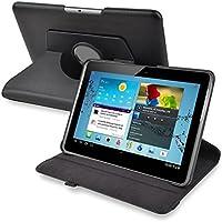 SODIAL(R) 黒い360度回転革ケース 10.1インチのSamsung Galaxy Tab 2 P5100/P5110の為