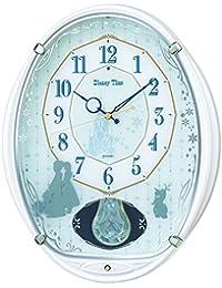セイコー クロック 掛け時計 アナと雪の女王 電波 アナログ 5曲 メロディ 飾り振り子 Disney Time ディズニータイム 白 パール FW578W SEIKO