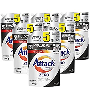 【ケース販売】アタック ZERO(ゼロ) 洗濯洗剤 液体 ドラム式専用 詰め替え 大容量 1700g×6個 (約5倍分)