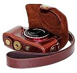 カメラをしっかり保護 Canon PowerShot SX700 HS SX710 HS 革製 レザー カメラケース カメラ保護 キャノン パワーショット (ダークブラウン)
