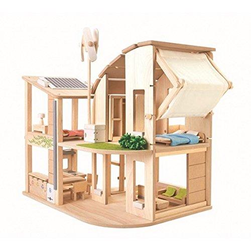 木のおもちゃ 家具付きグリーンドールハウス