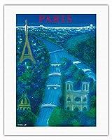 パリ、フランス - セーヌ川 - エッフェル塔 - エッフェル塔 - ビンテージな航空会社のポスター によって作成された ベルナール・ヴィユモ c.1963 - キャンバスアート - 51cm x 66cm キャンバスアート(ロール)