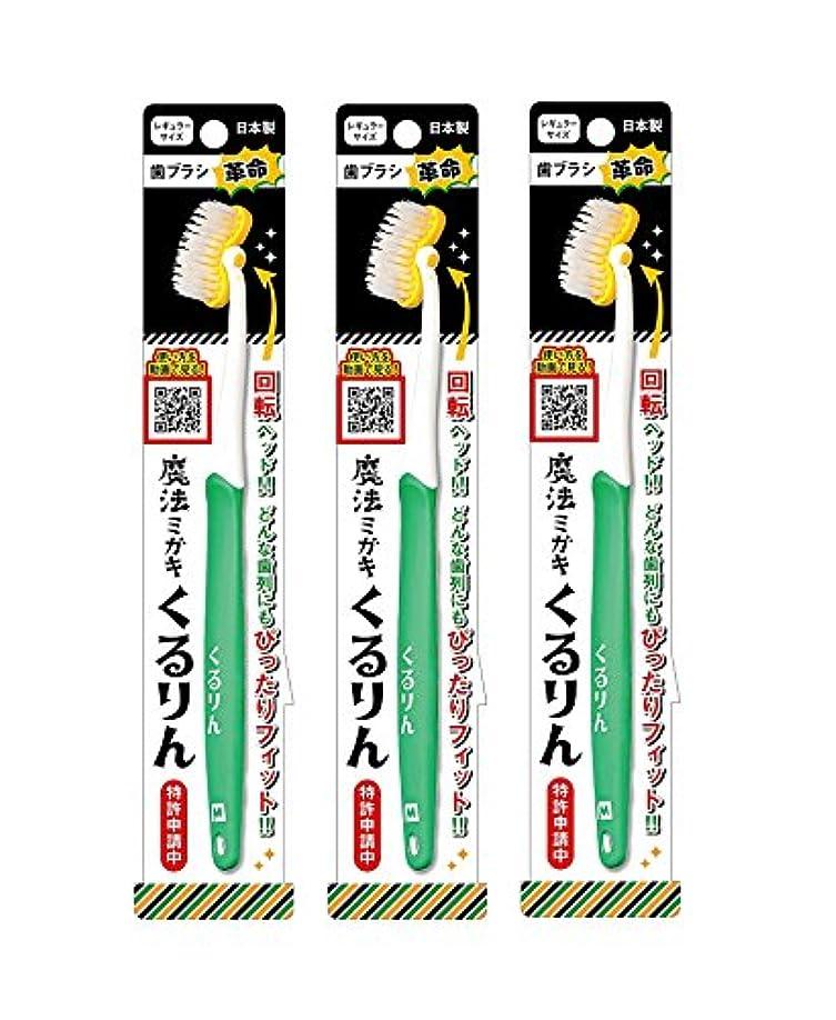 カンガルー好き先史時代の歯ブラシ革命 魔法ミガキくるりん MM-151 グリーン 3本セット