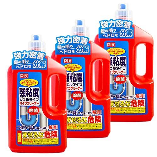 【まとめ買い】ピクス 排水口・パイプクリーナー 強粘度ジェルタイプ 800g×3本セット