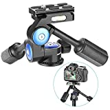 Neewer カメラビデオ三脚用3WAY雲台 360度回転可 1/4inchクイックシュープレート付き 三脚、一脚、カメラスライダ、ライトスタンド、DSLRカメラに適用 最大耐荷重10kg