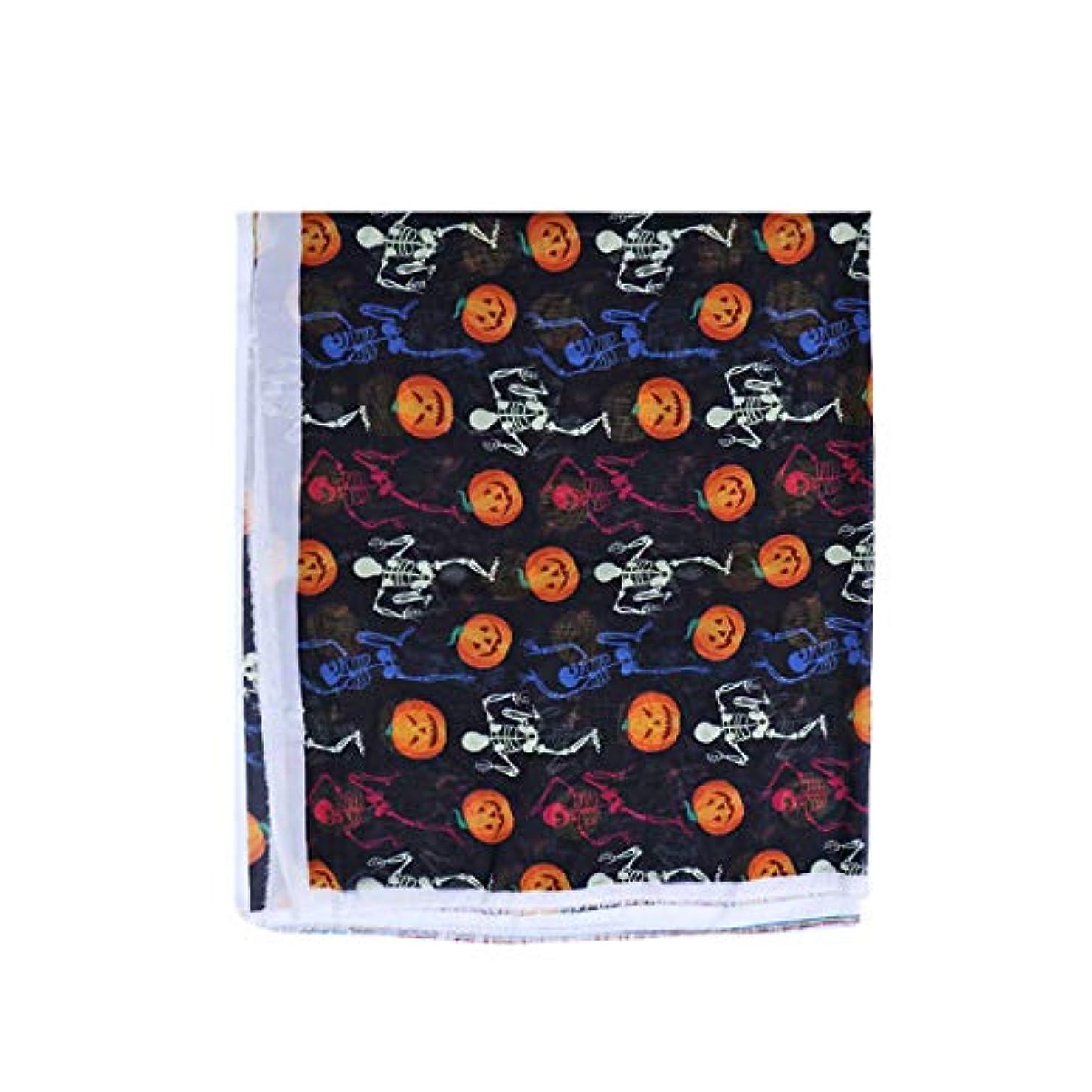 ゴミ箱を空にするインデックスほこりっぽいHealifty ハロウィーンのシフォンファブリックカボチャの頭蓋骨印刷布材料DIY服のドレスクラフト装飾アートプロジェクト