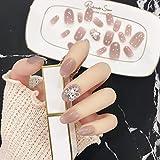 24Pcs3Dデコレーション 人造ダイヤモンドの装飾 無地ネイルチップ 両面接着テープ付き ネイルチップ 結婚式、写真を撮る、パーティー、二次会などに ジルコン 手作りネイルチップ 可愛い優雅ネイル (花)