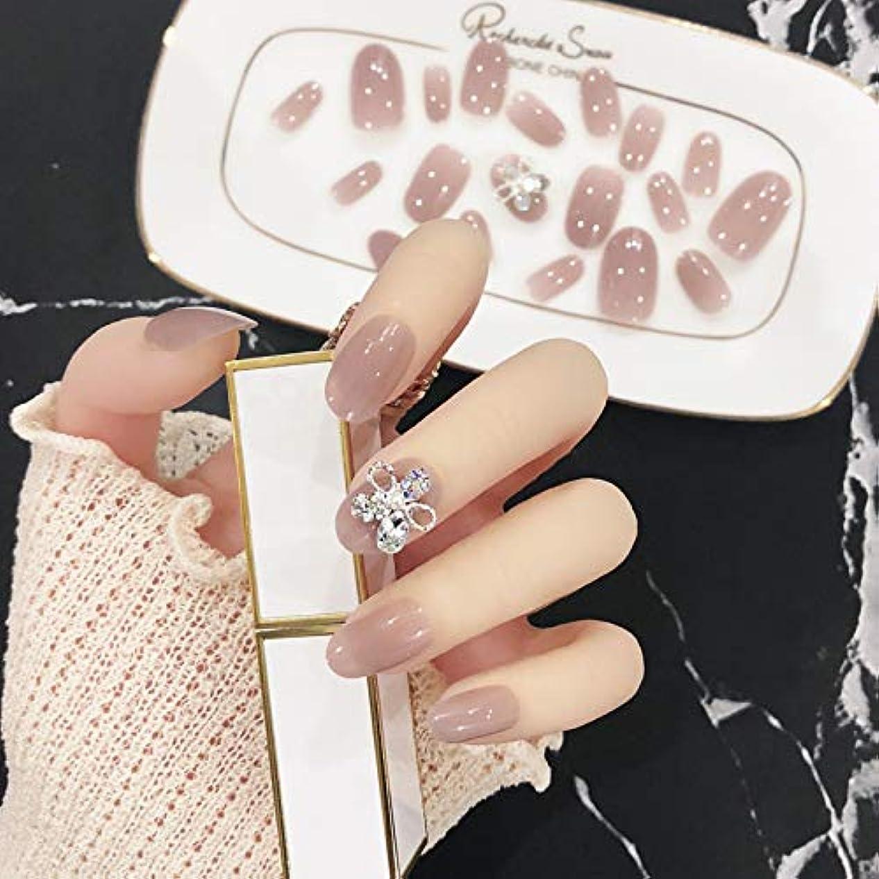 減らすパパ削る24Pcs3Dデコレーション 人造ダイヤモンドの装飾 無地ネイルチップ 両面接着テープ付き ネイルチップ 結婚式、写真を撮る、パーティー、二次会などに ジルコン 手作りネイルチップ 可愛い優雅ネイル (花)