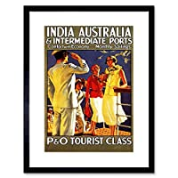 Vintage Travel India Au Cruise Ship Captian Society Ladies Framed Wall Art Print ビンテージ旅行インドクルーズ船壁