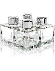 Feel Fragrance リードディフューザー用 リードディフューザーボトル 容器 透明 蓋付き 4本セット50ML方形 (GB-50)