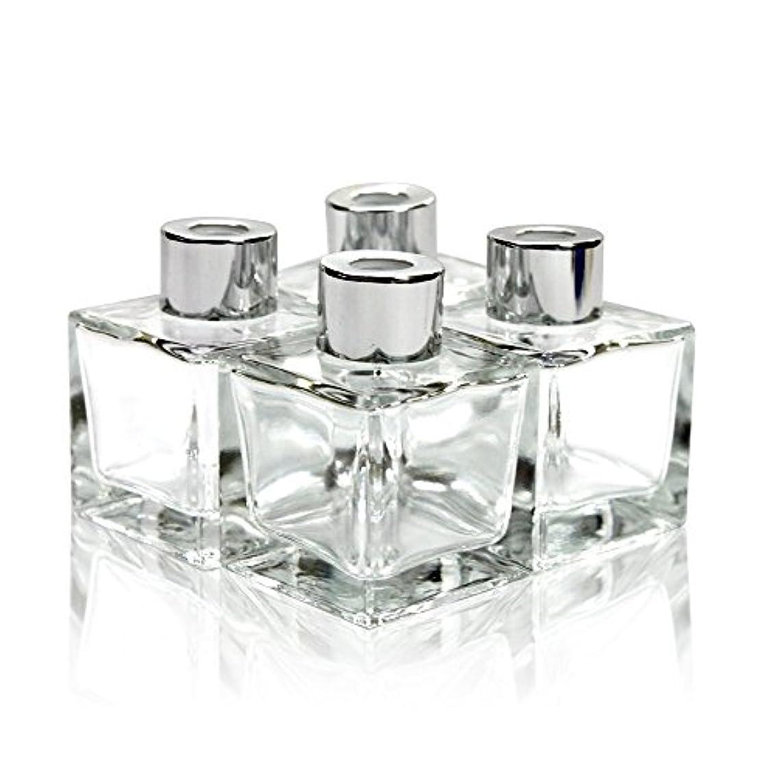 拒絶心配するレンダリングFeel Fragrance リードディフューザー用 リードディフューザーボトル 容器 透明 蓋付き 4本セット50ML方形 (GB-50)