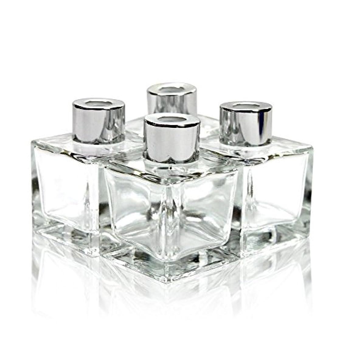 ハッピー倍増時々時々Feel Fragrance リードディフューザー用 リードディフューザーボトル 容器 透明 蓋付き 4本セット50ML方形 (GB-50)