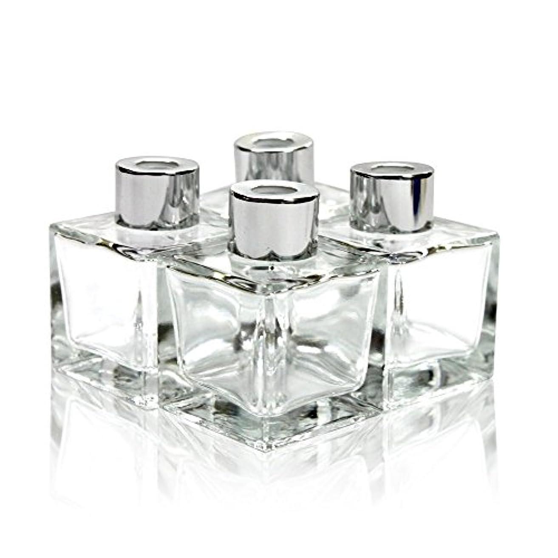 作詞家相対サイズ注入Feel Fragrance リードディフューザー用 リードディフューザーボトル 容器 透明 蓋付き 4本セット50ML方形 (GB-50)