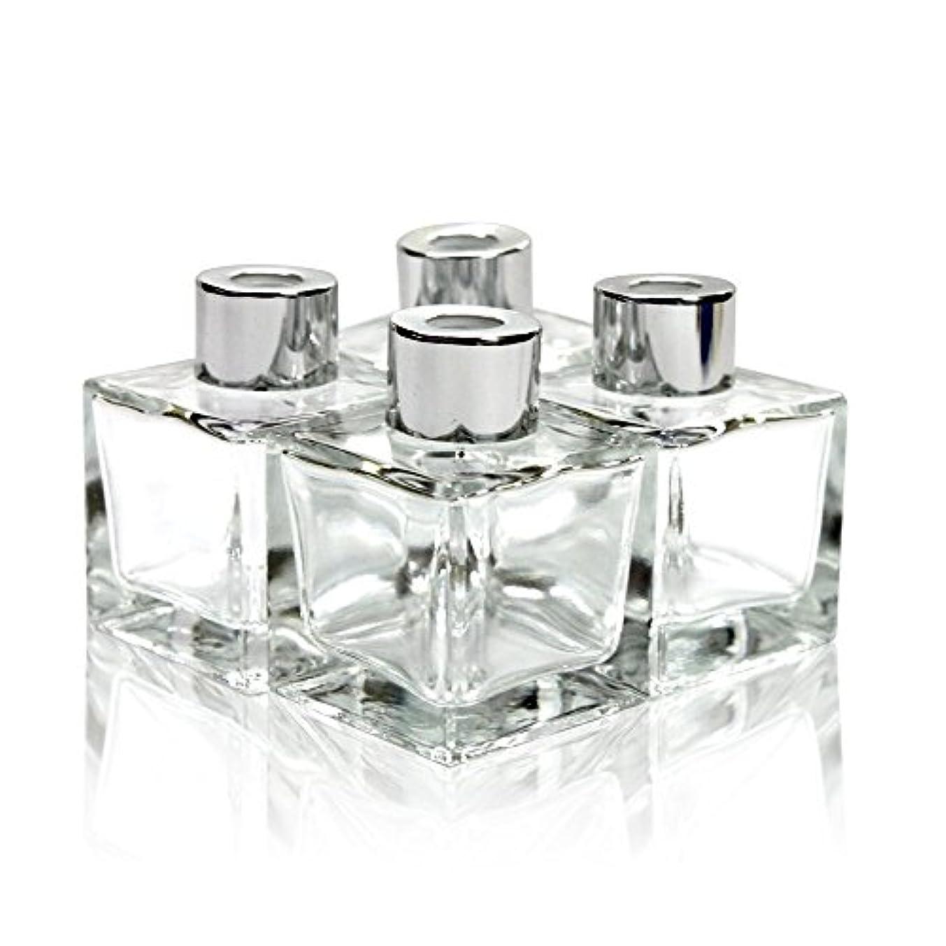 コアジョージスティーブンソンベンチャーFeel Fragrance リードディフューザー用 リードディフューザーボトル 容器 透明 蓋付き 4本セット50ML方形 (GB-50)