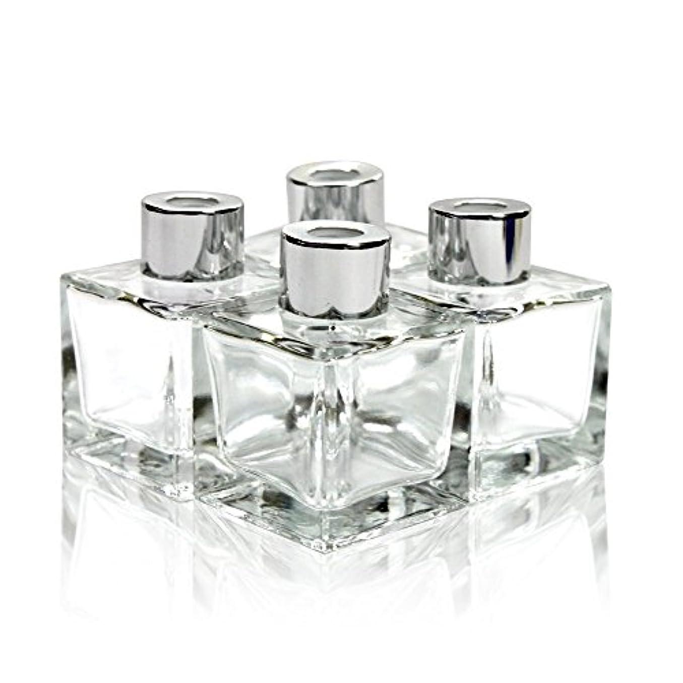 話火山のお茶Feel Fragrance リードディフューザー用 リードディフューザーボトル 容器 透明 蓋付き 4本セット50ML方形 (GB-50)