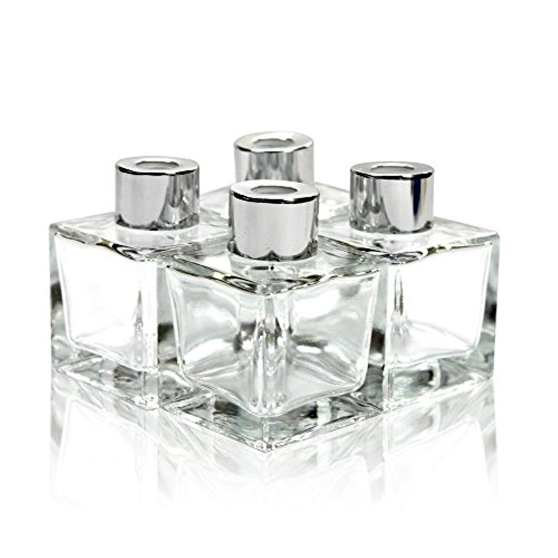 郵便局作者傑作Feel Fragrance リードディフューザー用 リードディフューザーボトル 容器 透明 蓋付き 4本セット50ML方形 (GB-50)