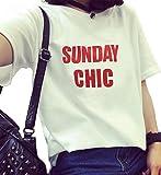 (OH)2016 春 夏 レディースTシャツ ゆったり 半袖 カジュアル ロゴ入り Tシャツ レディース トップス 無地 カジュアル 韓国風 レディース ファッション (ホワイト3)