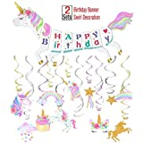 Unicorn Party Decoration Supplies-Unicorn Happy Birthday Banner-30ct Unicorn Hanging Swirl [並行輸入品]